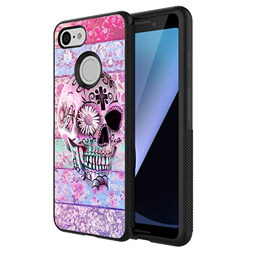 LONHAO Customized Pattern Hard PC Back Soft TPU Edges Phone Case for Google Pixel 3 Skull Flower Floral Pattern Daisy Colorful White Pink Cross boy-Black ()