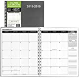 "Monthly Planner 2018-2019, 8.5"" x 11"", Academic Planner, Premium Paper, Grey Cover, Teacher and Student Planner, 18 Month Appointment Book"