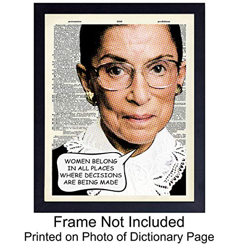 Ruth Bader Ginsburg - Wall Art Print on Dictionary Photo - Great Home Decor or Gift For Lawyers or Attorneys - Ready to Frame (8X10) Vintage Photo - RBG