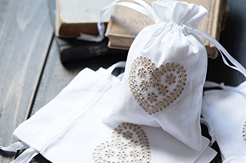 Vintage White Cotton Sachet Bags Drawstring Ribbons Embroidered Love Heart Pouch 5