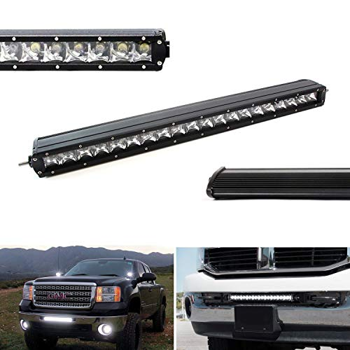2017 Chrysler Sebring Grille - iJDMTOY 21-Inch 100W CREE Single-Row Slim LED Light Bar For Truck Jeep Off-Road 4x4 ATV SUV (Spot Beam Pattern)