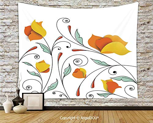 AngelDOU Floral Dorm Decor Wall Hanging Tapestry Bouquet with Swirled Branches Romantic Paper Flowers Origami Autumn Blooms Image for Living Room Bedroom.W70.8xL59(inch)