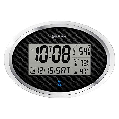 Sharp SPC936 Atomic Clock - Never Needs Setting! - Indoor/Outdoor Weather Station with Humidity Monitor - Battery Powered - Easy Set-Up!