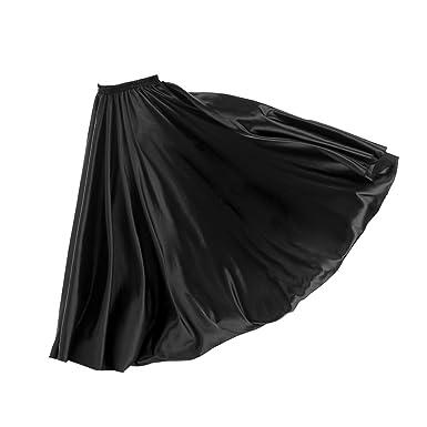 d1f771521d Homyl 96cm Belly Dance Satin Modern Swing Long Dress Elastic Waistband  Design Great Stage Effect - Black, as described: Amazon.co.uk: Clothing