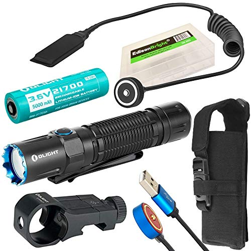 OLIGHT M2R Pro Warrior 1800 Lumens USB Rechargeable Tactical Flashlight, 21700 Battery, holster, pressure switch, rail mount kit with EdisonBright BBX5 battery carry case bundle (Black)