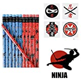 120 Ninja Party Favors - 24 Pencils - 24 Stickers & 72 Tattoos - Birthday Parties Ninja Martial Arts - Karate Judo - Classroom Give-aways