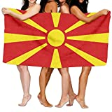 Beach Towel Flag Of Macedonia 80'' X 130'' Soft Lightweight Absorbent For Bath Swimming Pool Yoga Pilates Picnic Blanket Towels