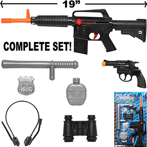 Cool SWAT Super Police Force M16 Friction Toy Gun Combo Play Set w/ Friction Toy Gun, Toy Pistol, Police Badge, Glasses, Mask, Baton, Camera, Canteen, Binoculars, Police Gear, Police Toys]()
