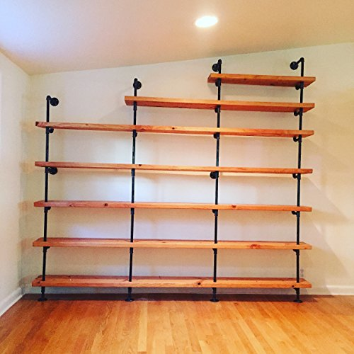 Black Steel Pipe Bookcase and Shelves (Ships Anywhere in US)