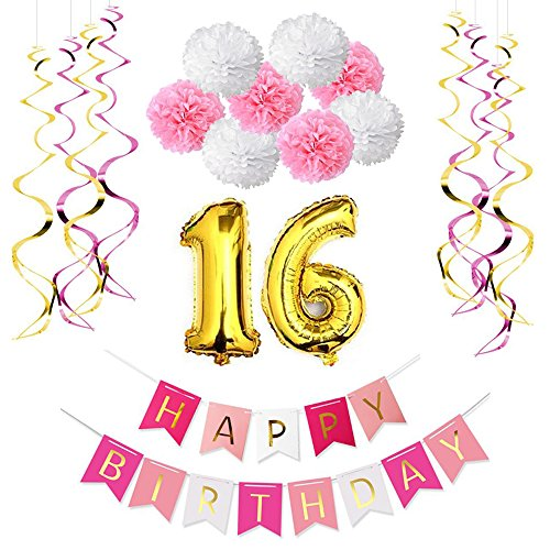 16th-Birthday-Party-Decoration-Kit-Happy-Birthday-BannerGold-And-Red-Foil-WhirlsPink-and-White-Paper-Pom-PomsNumber-16-Foil-Balloons-For-Birthday-Party