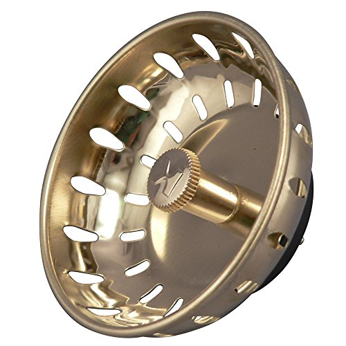 (Keeney K820-22DSPB Fixed Post Style Sink Strainer Replacement Basket, Polished Brass)