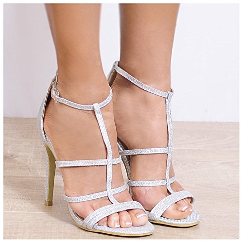 Ladies Glitter Argento Punta Aperta Con Il Cinturino Cinturino Alla Caviglia A Spillo Tacchi Alti Scarpe UK8/euro41/aus9/usa10