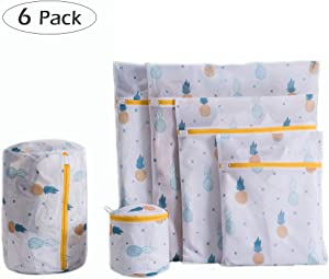 6 Pack Pineapple Mesh Laundry Bags for Delicates, Premium Travel Storage Organizer Bag, Reusable Durable Clothing Washing Bags for Lingerie Blouse Bra Hosiery Underwear in Washing Machine and Drier