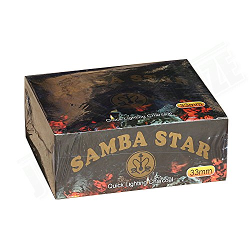(100 Pcs Samba Star 33mm Quick Light Hookah Charcoal)