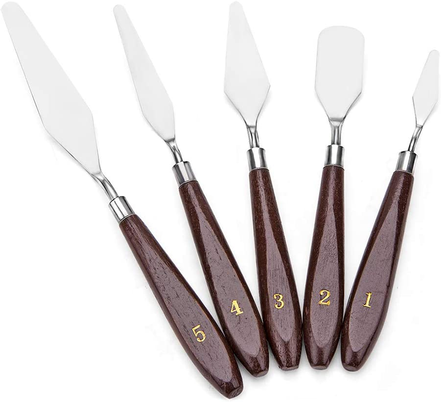 JZK® 5 Piezas Espátulas de Acero Inoxidable Con Mango de Madera Cuchillos Paleta Para Pintura