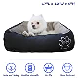 Pet Paw Pet Bed for Cats and Small Dogs High Quality/Fade resistance- Improved Sleep -Machine Washable- Waterproof Bottom- Black