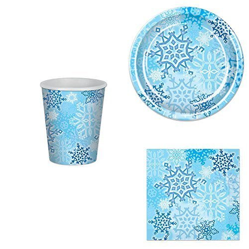 Snowflake Party Bundle for 16: Plates, Napkins and -