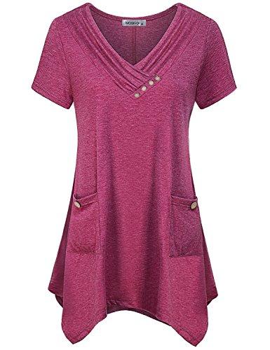 MOQIVGI Fancy Blouses for Women,Ladies Cowl Neck Button Decor Asymmetric Hem Flowy Tops Summer Fashion 2018 Short Sleeve Solid Tunic Soft Breathable Long Shirts for Leggings Red (Asymmetric Button)