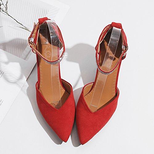 OALEEN Strass Bride Pointu Cheville Bout 43 Femme Sexy Eté 32 Escarpins Heureux Haut Chaussuress Talon Rouge r1q4Xr