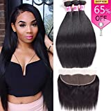 Unprocessed Virgin Brazilian Hair 13×4 Lace Frontal Closure with Human Hair Bundles Straight Hair (14 16 18 with 12 Frontal,Natural Black) Review