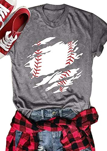 c9f0e1c023ddf Baseball Mom Shirts Women Novelty Casual Short Sleeve Blouse Tees Top for  Game Day Size L