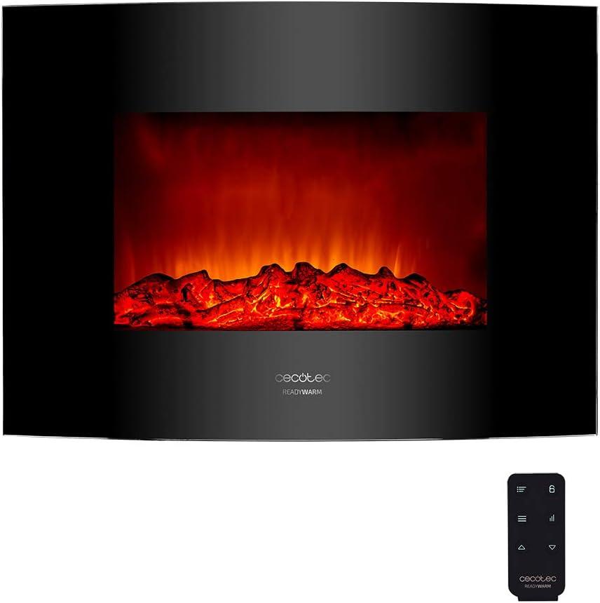 Cecotec Chimenea eléctrica Ready Warm 2200 Curved Flames. Potencia máxima 2000 W, tamaño 22
