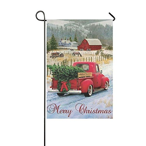 Jay94 Merry Christmas Red Car Garden Flag - Double Sided Hol