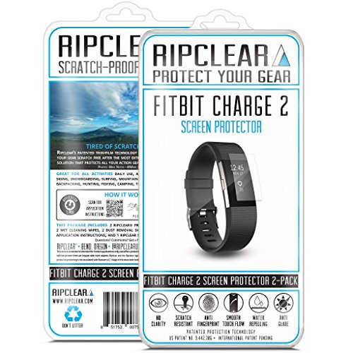 Ripclear Fitbit Charge 2 Wristband Smartwatch Screen Protector Kit - Scratch-Resistant, All-Weather Protection, Crystal Clear - 2-Pack (Tint Protection Perfect Moisture)