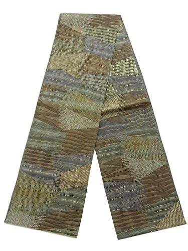 アテンダントコンテスト電報リサイクル 全通 袋帯 紬 縞模様 正絹