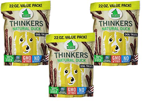 PLATO Dog Treats - Thinkers Natural Duck Sticks- 22 oz (3 Pack) by PLATO