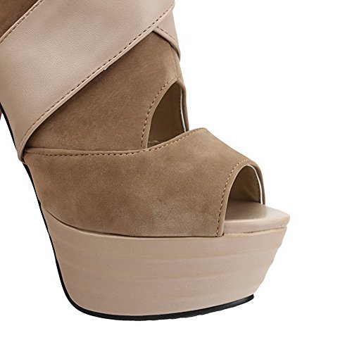 VogueZone009 Women's Peep Toe High Heels Solid Zipper Sandals Apricot QEIuJgZV5O