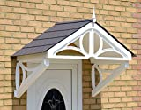 The Hilton Door Canopy, Storm Porch, Rain Shelter, Front Door Cover (White Frame Grey Roof)