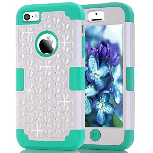 IPhone 5C hülle,Lantier [weicher harter Tough Case] ??Designer Kristallbling Hybrid Rüstungs Kasten Abdeckung für Apple Iphone 5C Weiß + Mint Green