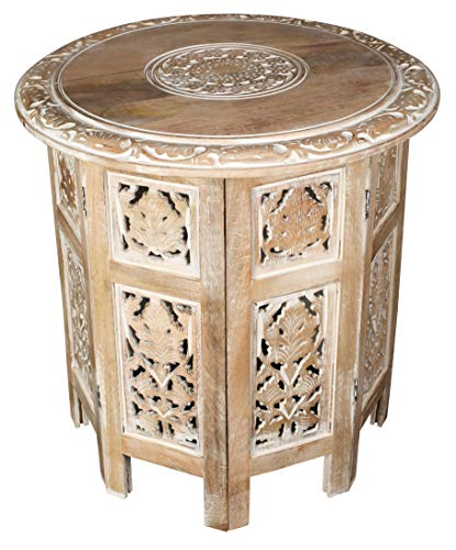 Solid Wood Hand Carved Accent Table, Side Table, entryway Table, Wooden end Table, Bedside Table, Octagonal Wooden Table - 18 Inch Round Top x 18 Inch High - White Wash