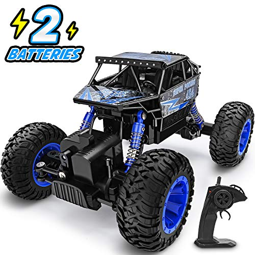 YEZI RC Car 1:18 Large Scale, 2.4Ghz All Terrain Waterproof Remote Control Truck with Two Battery,4x4 Electric Rapidly Off Road car for, Remote Control car for Kids Boys and Adults