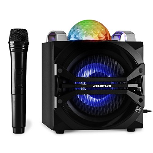 auna DisGo Box 65 Karaoke Musikanlage Audiosystem Party-Lautsprecher mit Funk-Mikrofon und LED Lichteffekten, Akku, Bluetooth Schnittstelle (tragbar, MP3-USB-Slot, UKW-Tuner, AUX) schwarz