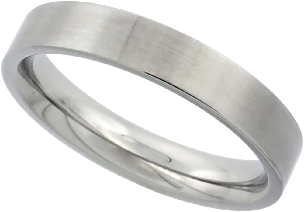 Sabrina Silver Stainless Steel Pipe Cut Flat 4mm Wedding Band/Thumb Ring Comfort fit High Polish, Sizes 5-12