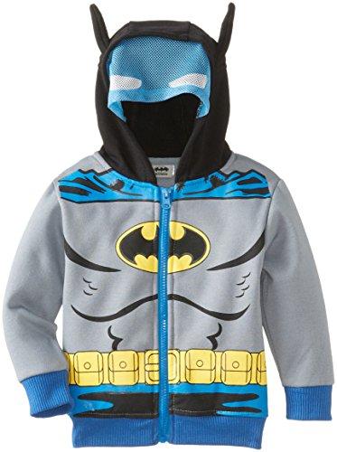 Sweatshirt Dc Fleece (CAN DC Comics Baby Little Boys' Batman Fleece Masked Hoodie, Silver, 2T)