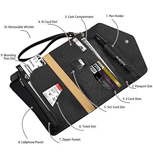 Krosslon Travel Passport Holder Wallet for Women Rfid Blocking Document Organizer Tri-fold Wristlet Bag, 1# Black