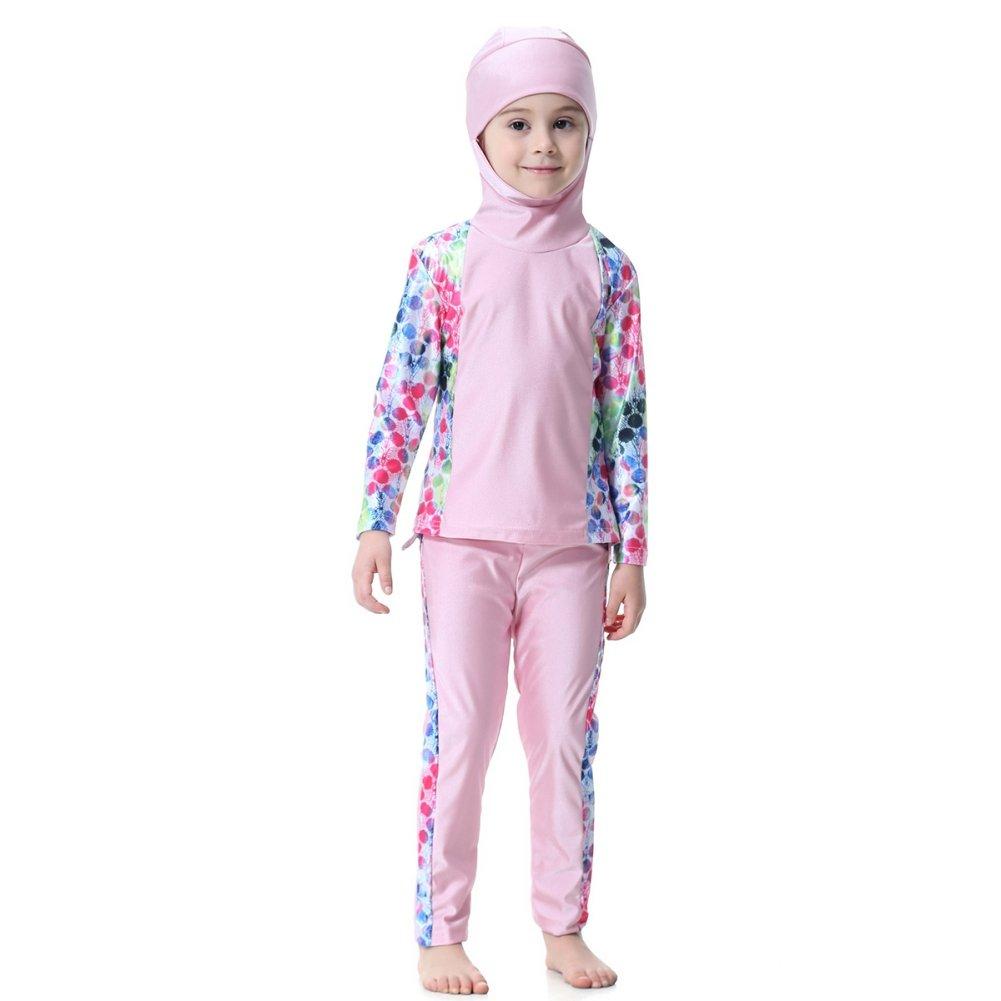 2019 New Muslim Islamic Girls Swimwear Kids Girls Burkini Printing Swimsuit Long Clothes Sets + Hijab Hooded for 75-165cm