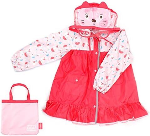 防水 キッズレインコート 子供のベビーフード付きポンチョ緑の帽子は防水ピンクの子猫の柄レインコートを着用してください 梅雨対策 アウトドア