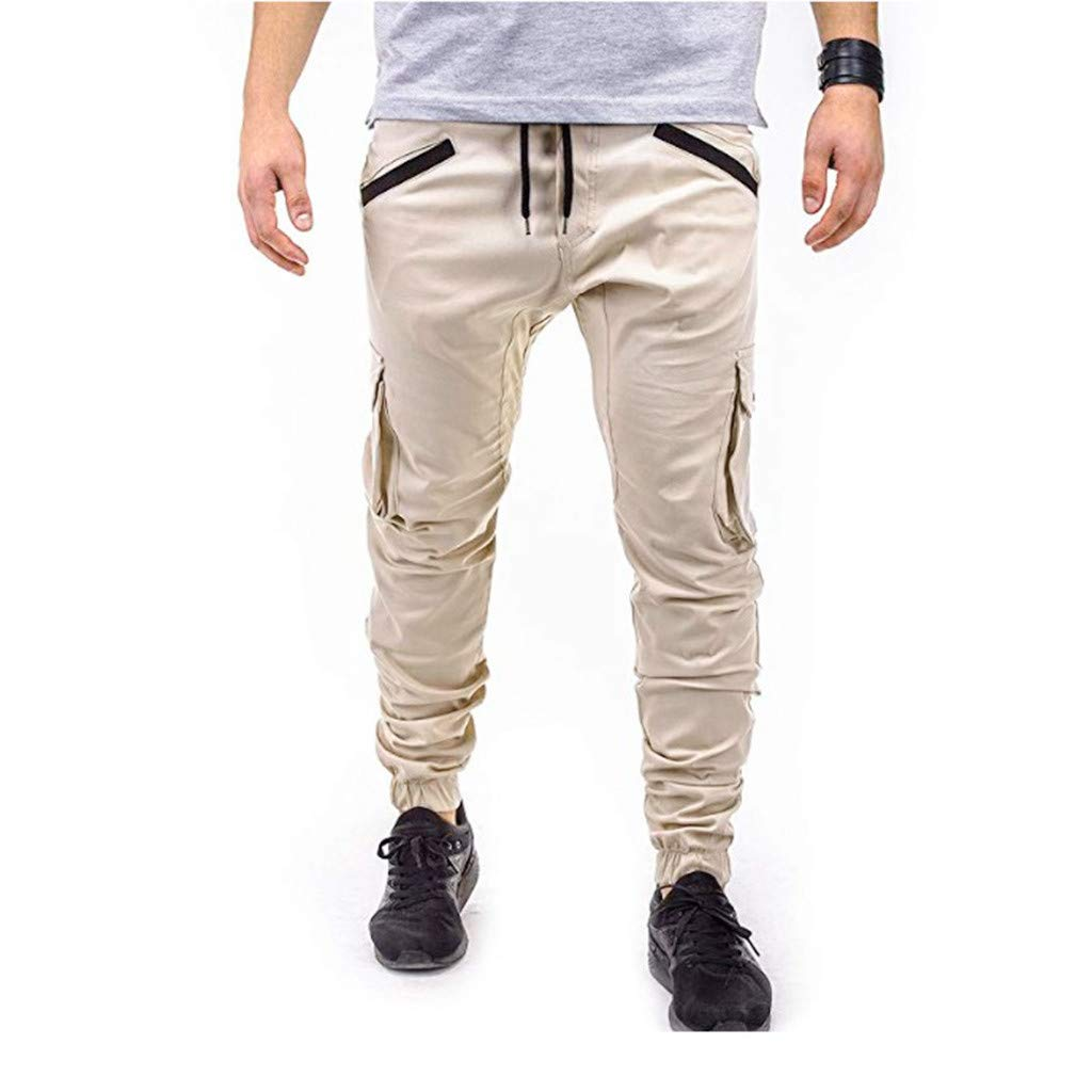 Sunyastor Men's Cargo Pants Slim Fit Casual Jogger Pant Trousers Outdoor Working Pants Pure Color Casual Sports Pants Beige