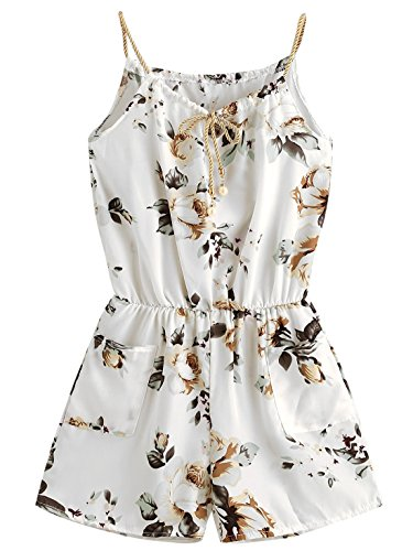 MakeMeChic Womens Sexy Strap Floral Print Summer Beach Party Romper Jumpsuit