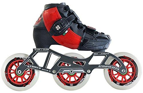 Luigino Kids Adjustable Red Boot Size J13-2, Luigino Striker 4x90/3x110 Frame, Atom Matrix Red 100mm Wheels, Bionic Abec 7 Bearings, Inline Speed Skates