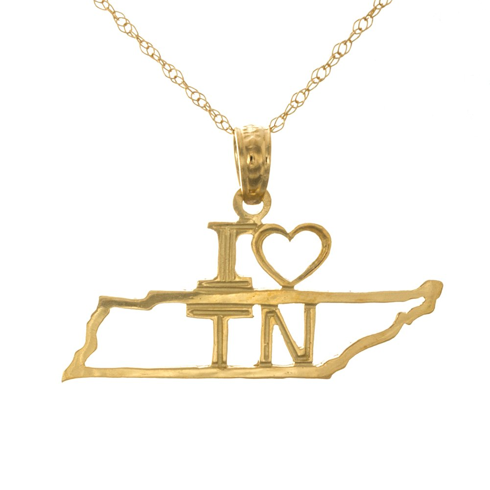 14k Yellow Gold Travel Charm Pendant with Chain, Tennessee State Map, I ''Heart'' TN, Cut-out