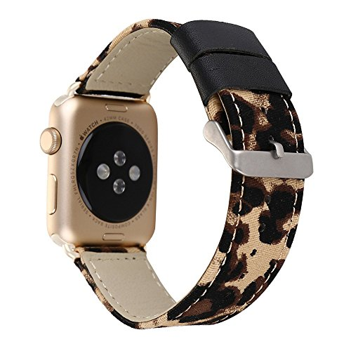 Jusinhel Apple Watch Band 38mm Leopard Printed Fabric Canvas with Genuine Leather Strap Replacement for iWatch Series 3 Series 2 Series 1 Sport, Edition - Yellow (Band Fabric Printed)