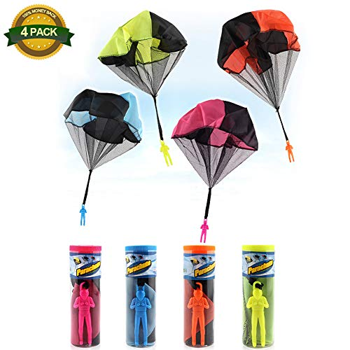 4 PCS Free Throwing Parachute Figures Hand Throw