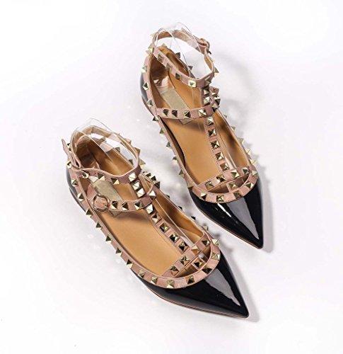 Katypeny Mujeres Sexy Hebilla Con Tachuelas Boca Baja, Zapatos De Tacón Con Punta Plana 01 # Black-beige Patent Pu Leather