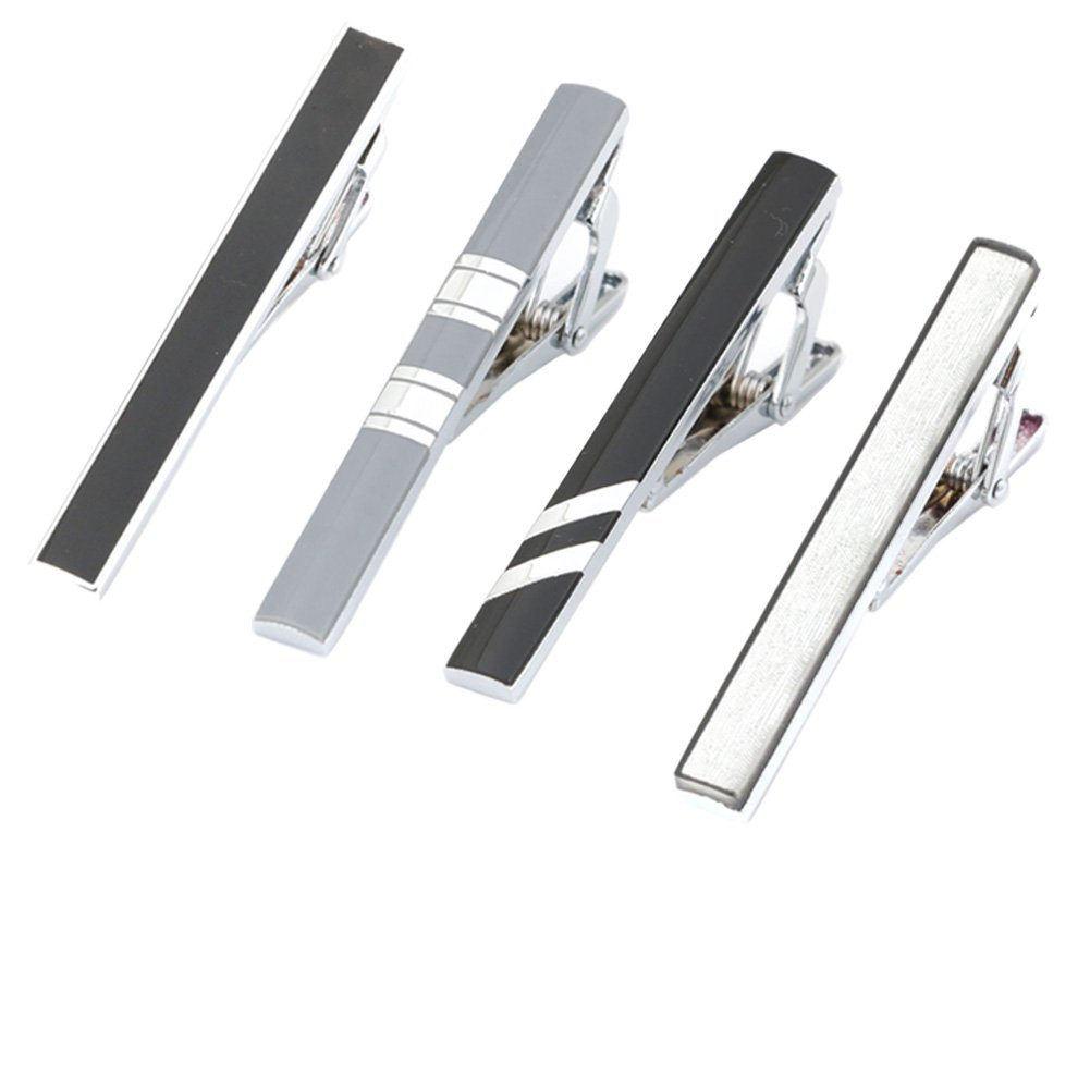 Silver-Tone GWD Mens Tie Bar Clip 2.1 Inch Black Gray
