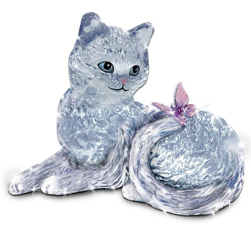 Smitten Crystal Kitten And Butterfly Figurine by The Bradford - Glasses Winged Cat Eye